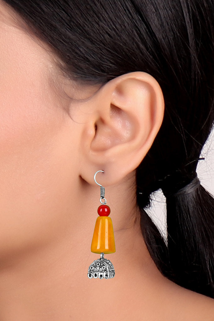 Red Yellow Stone Oxidise Earring