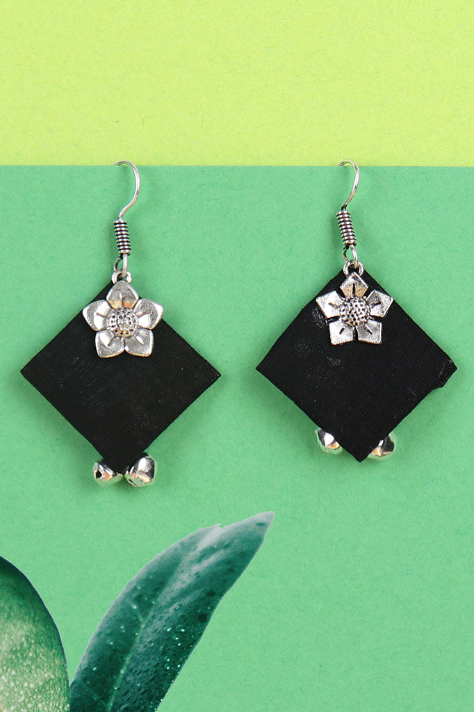 Black Fabric Ghunghroo Earrings