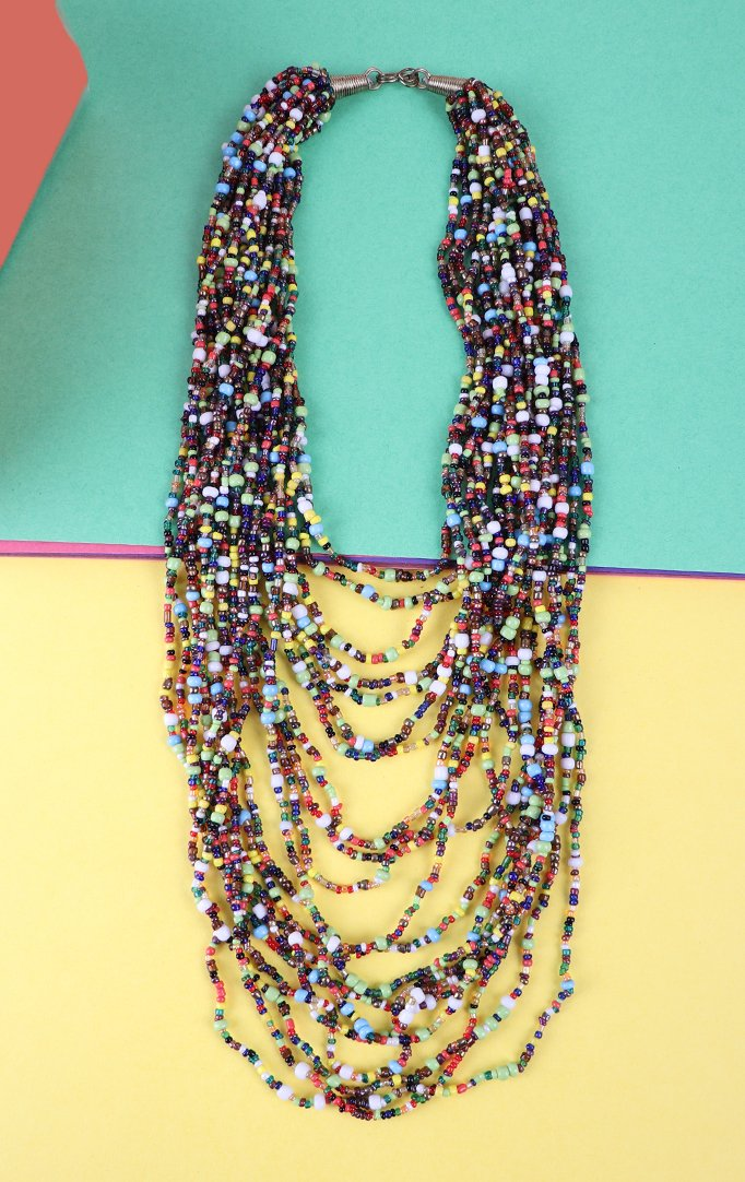Multicolored Layered Beads Necklace