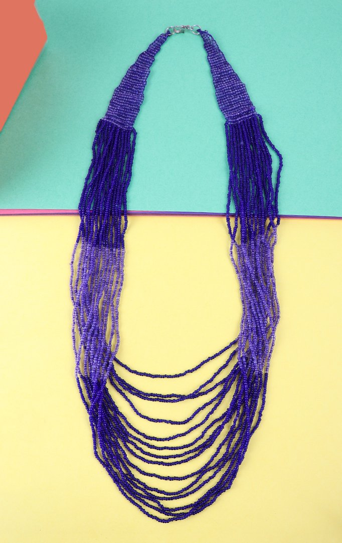 Multilayered Beaded Blue Necklace