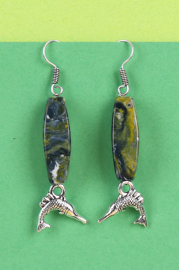 Blue Stone Fish Charm Earrings