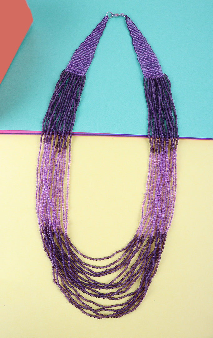 Multilayered Beaded Purple Necklace