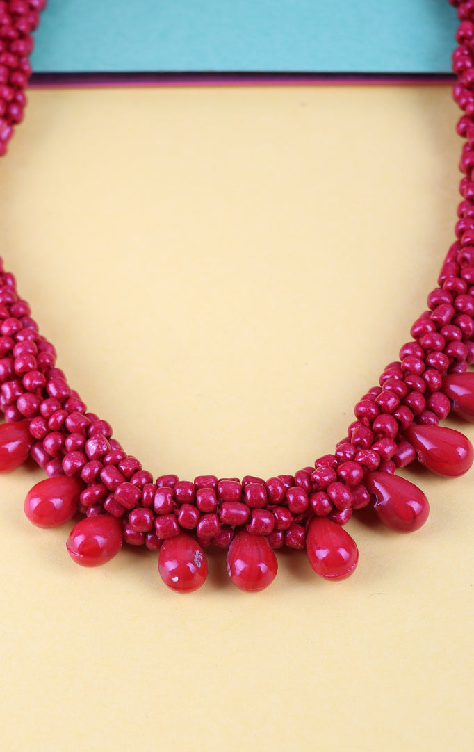 Coral Beaded Necklace in Red