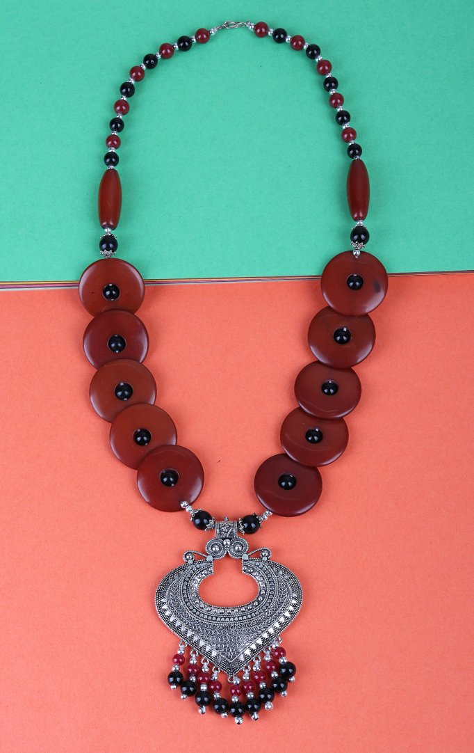 Red-Silver Tribal Necklace