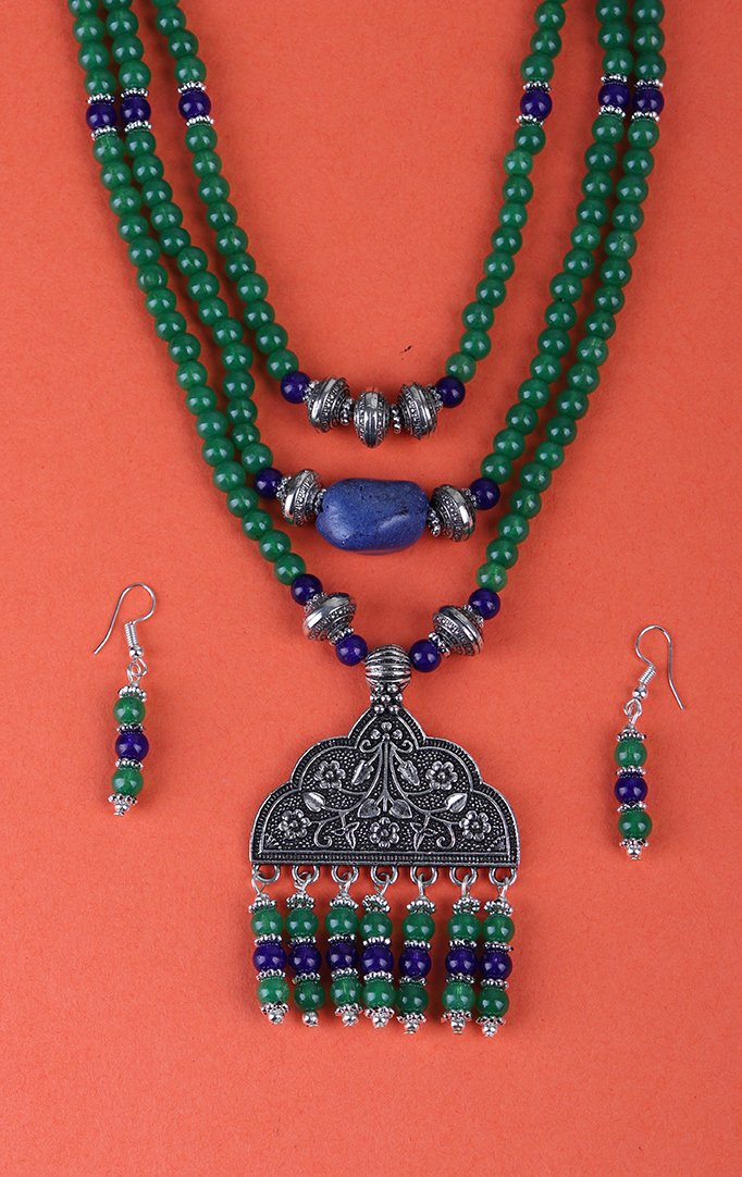 Triple Layered Blue Beaded Necklace Set in Green