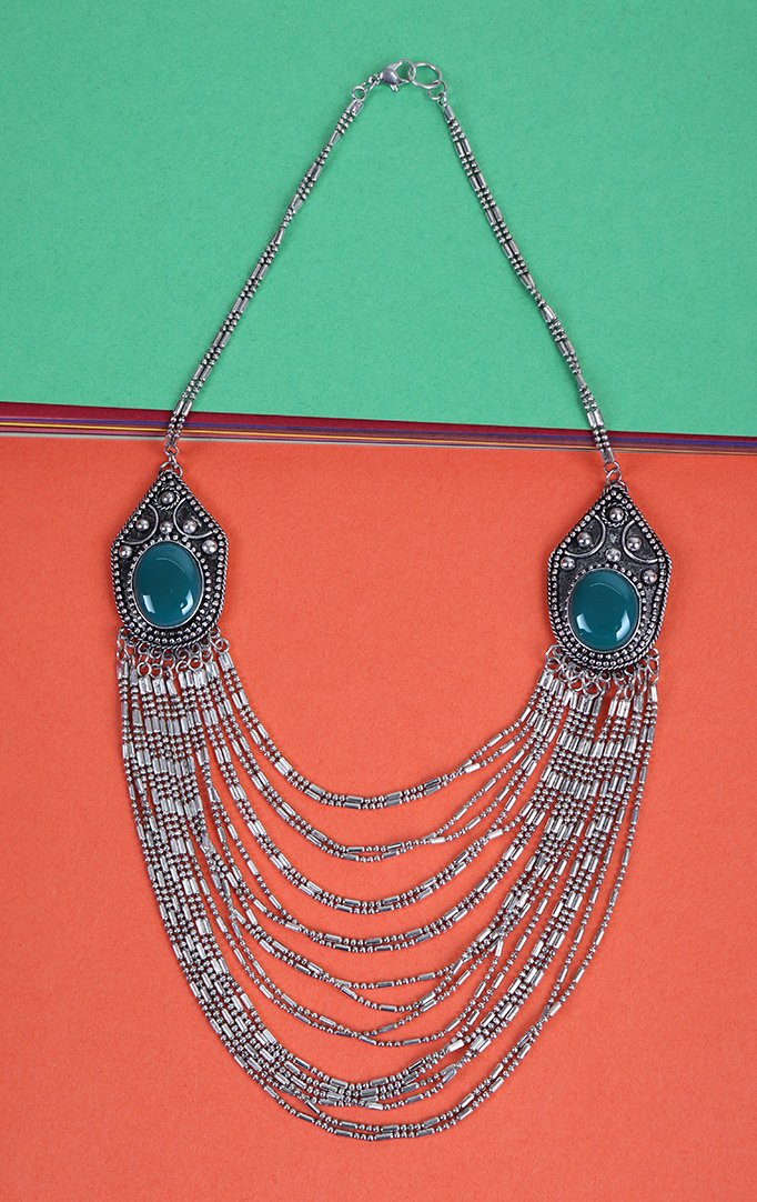 Oxidised silver and Blue Multilayered Necklace