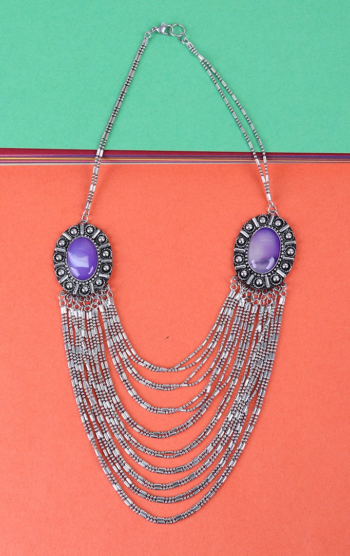 Oxidised silver and Purple Multilayered Necklace