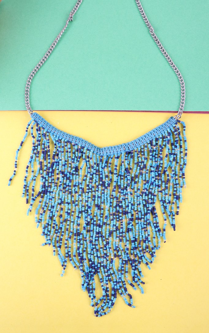 Blue Tasseled Boho Necklace