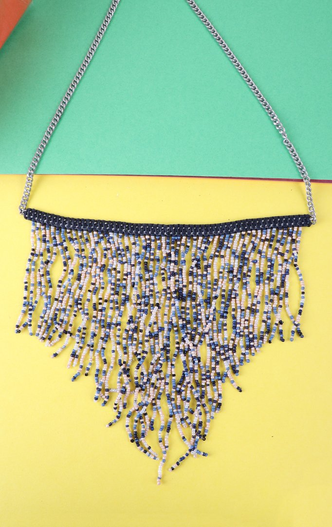 Dark Hue Tasseled Boho Necklace