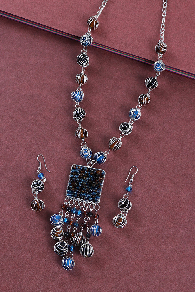 Shaded Beads Necklace Set in Blue