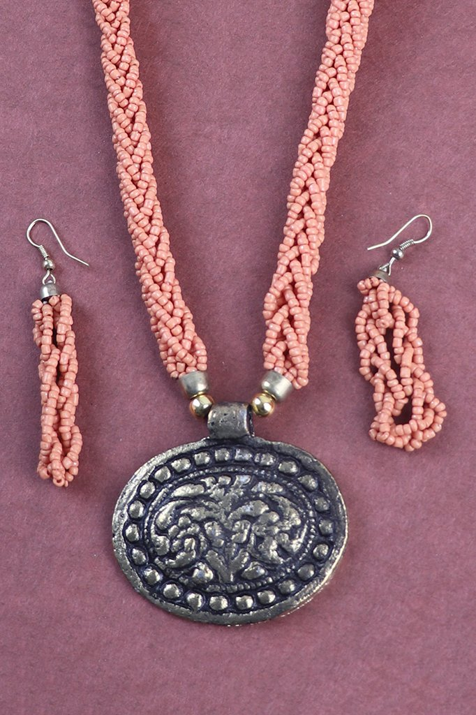 Orange Beaded Necklace Set with Oval Pendant
