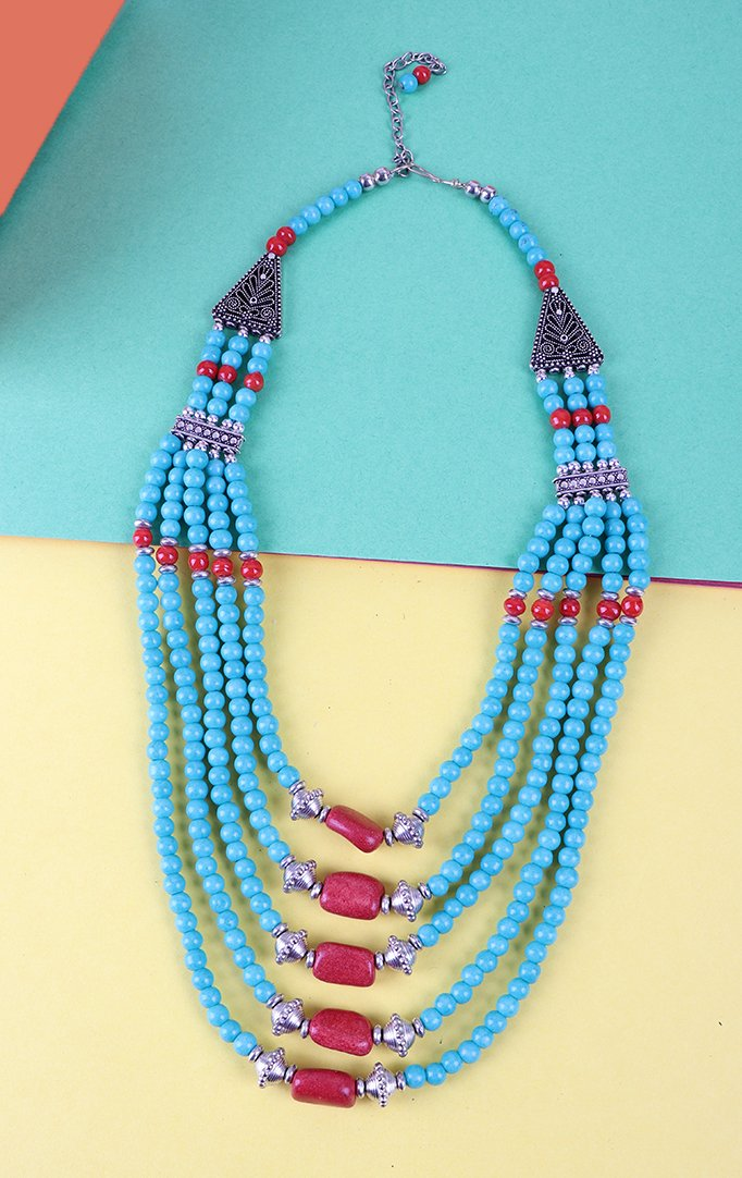 Turquoise Beaded Necklace with Silver Accents