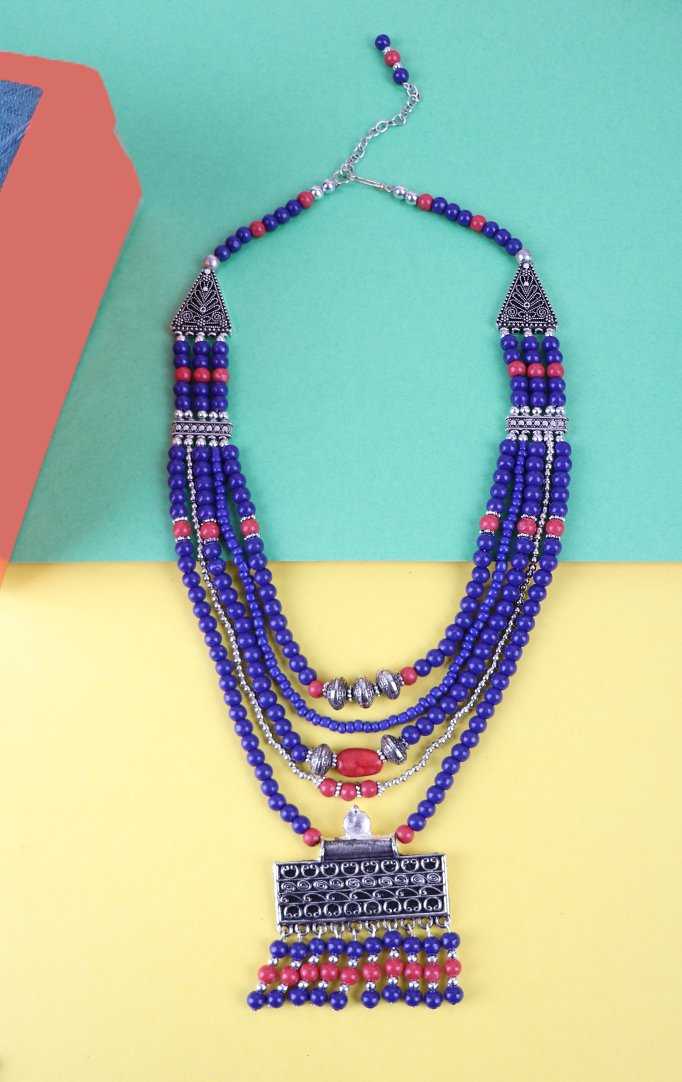 Triple Layered Blue Beaded Necklace Set in Blue