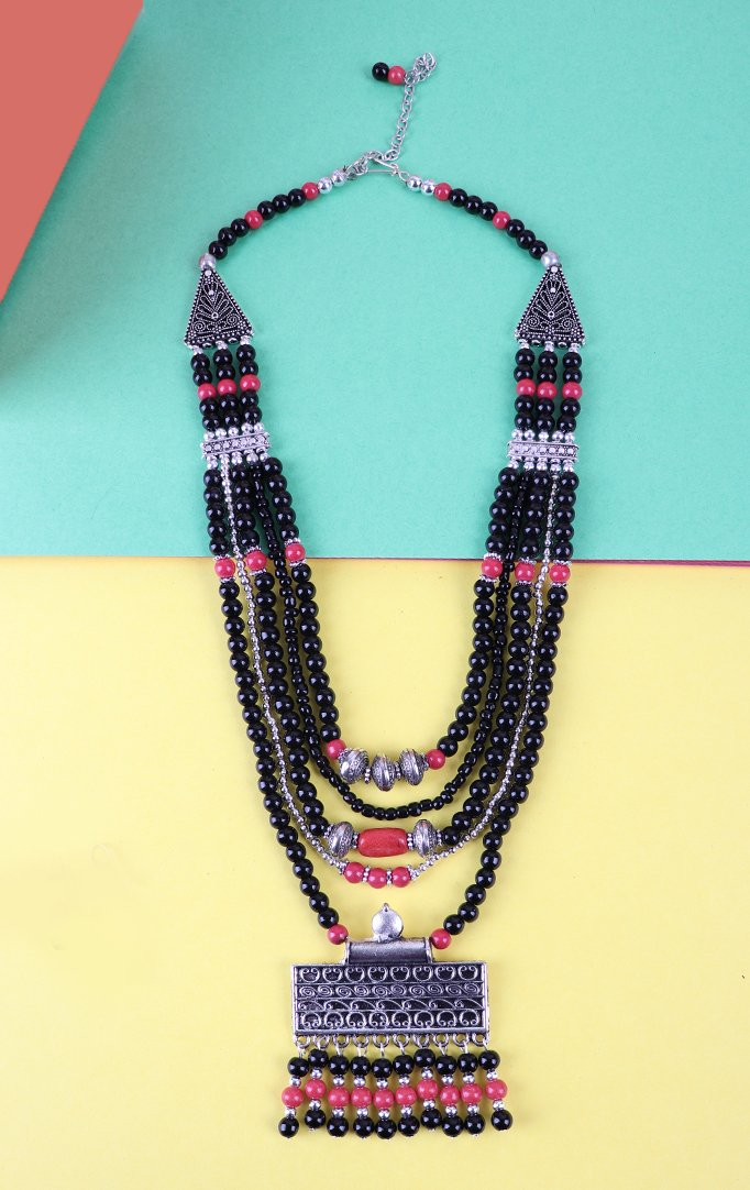 Triple Layered Blue Beaded Necklace Set in Black
