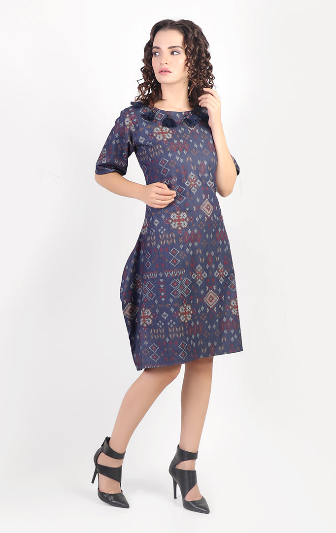 Blue Handloom Cotton Asymmetric Short Dress