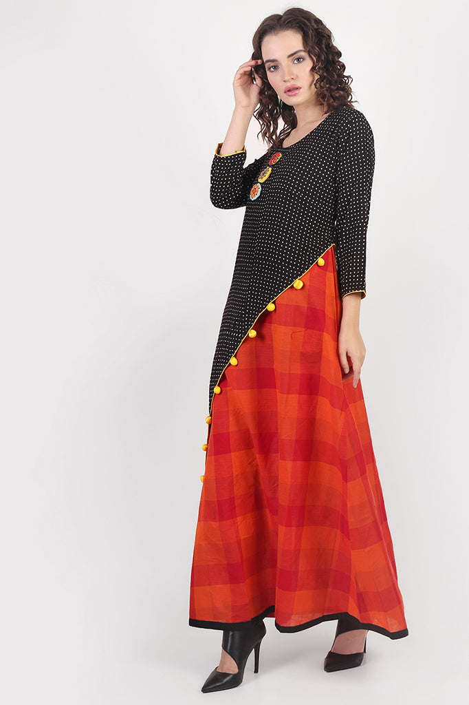 Black & Orange Asymmetric Cape Dress