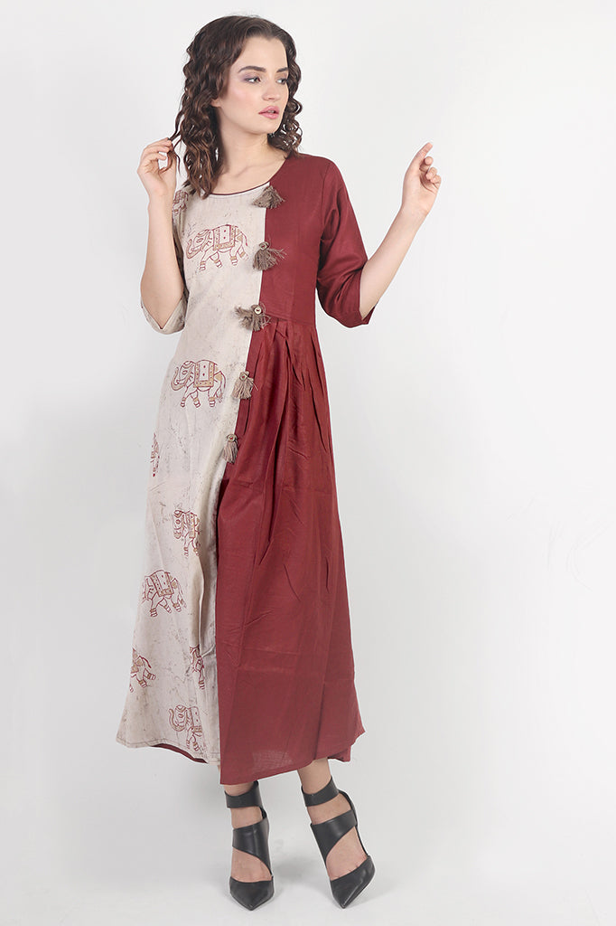 a8aed399176 Long Cotton Dress with Elephant Block-Print