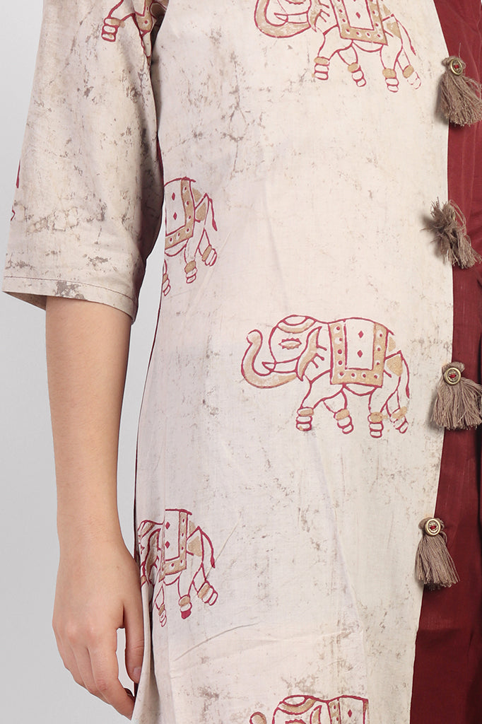 Long Cotton Dress with Elephant Block-Print
