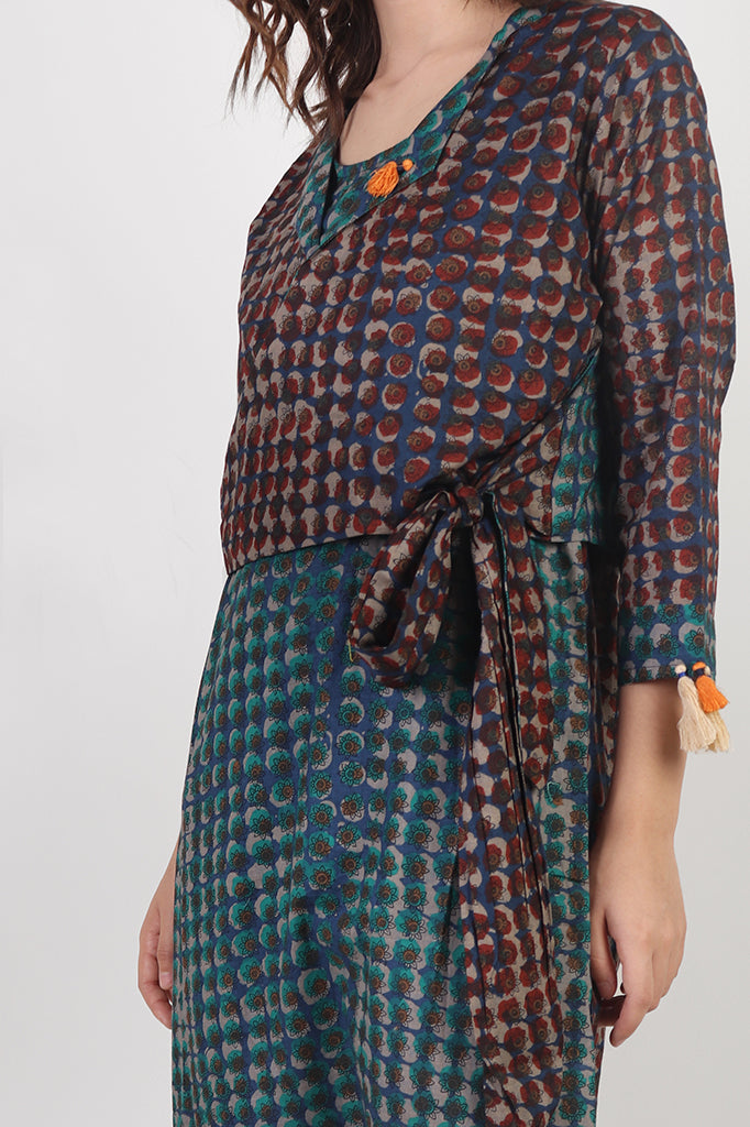 Rayon-Cotton Printed Dress with Shrug