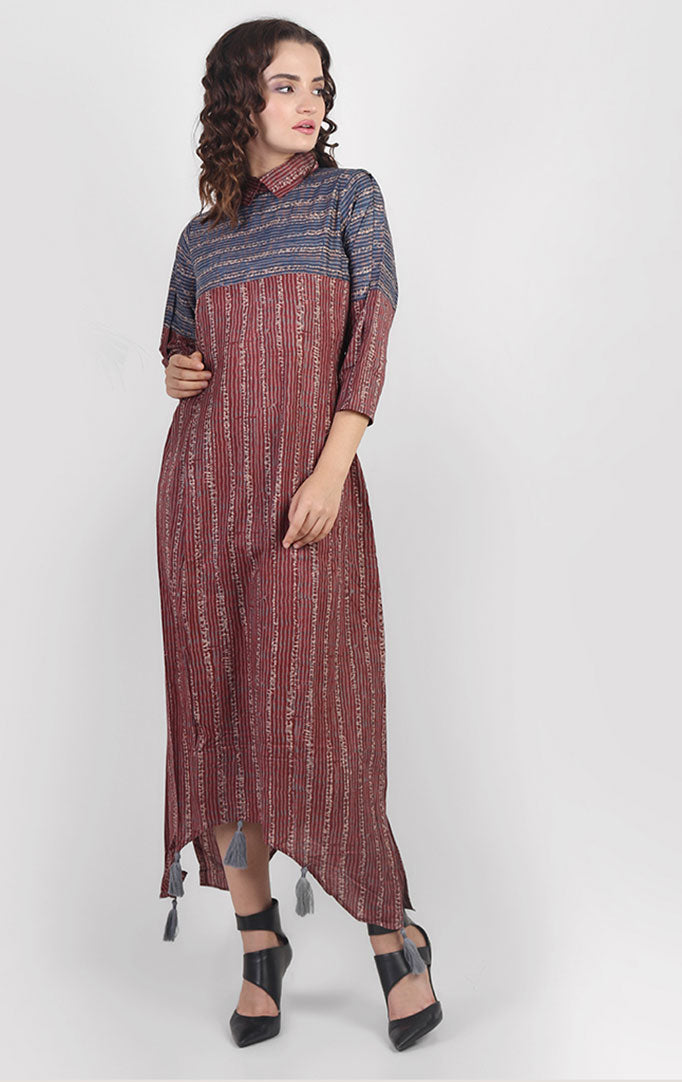 Asymmetric Casual Dress in Rayon Cotton
