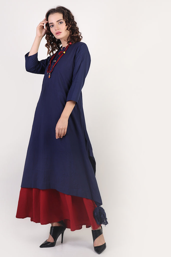 Red-Blue Layered Dress with Necklace