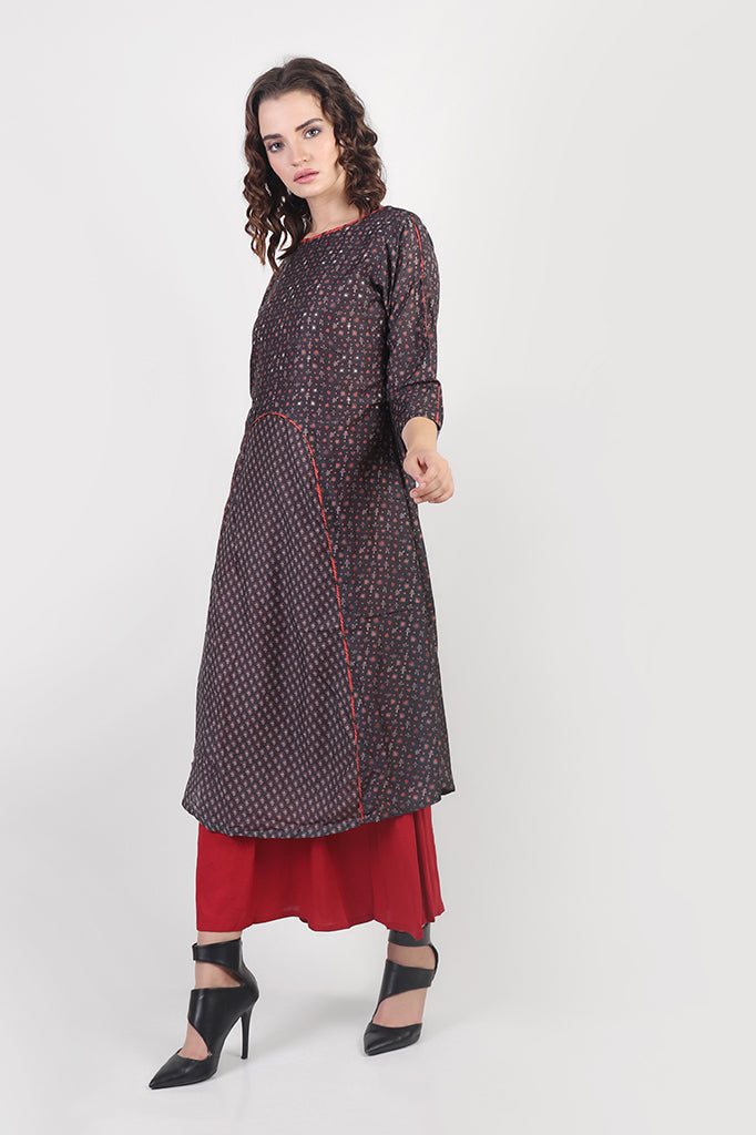 Red-Brown Double Layered Cotton dress