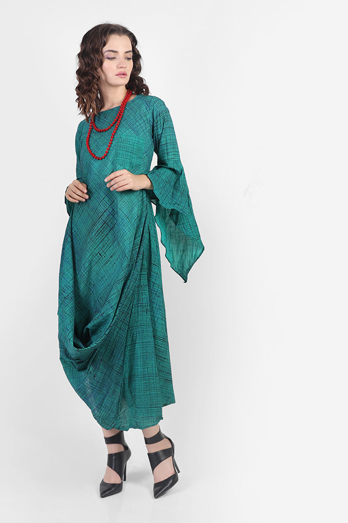 Green Cowl Dress with Bell Sleeves