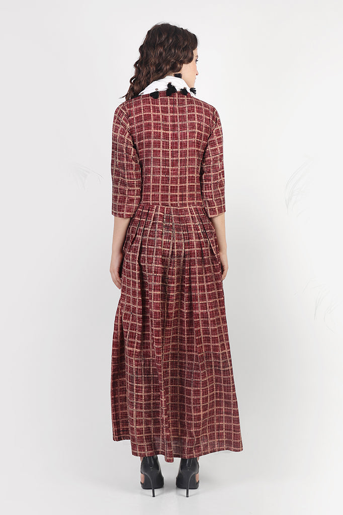 Maroon Checkered Long dress with Pockets