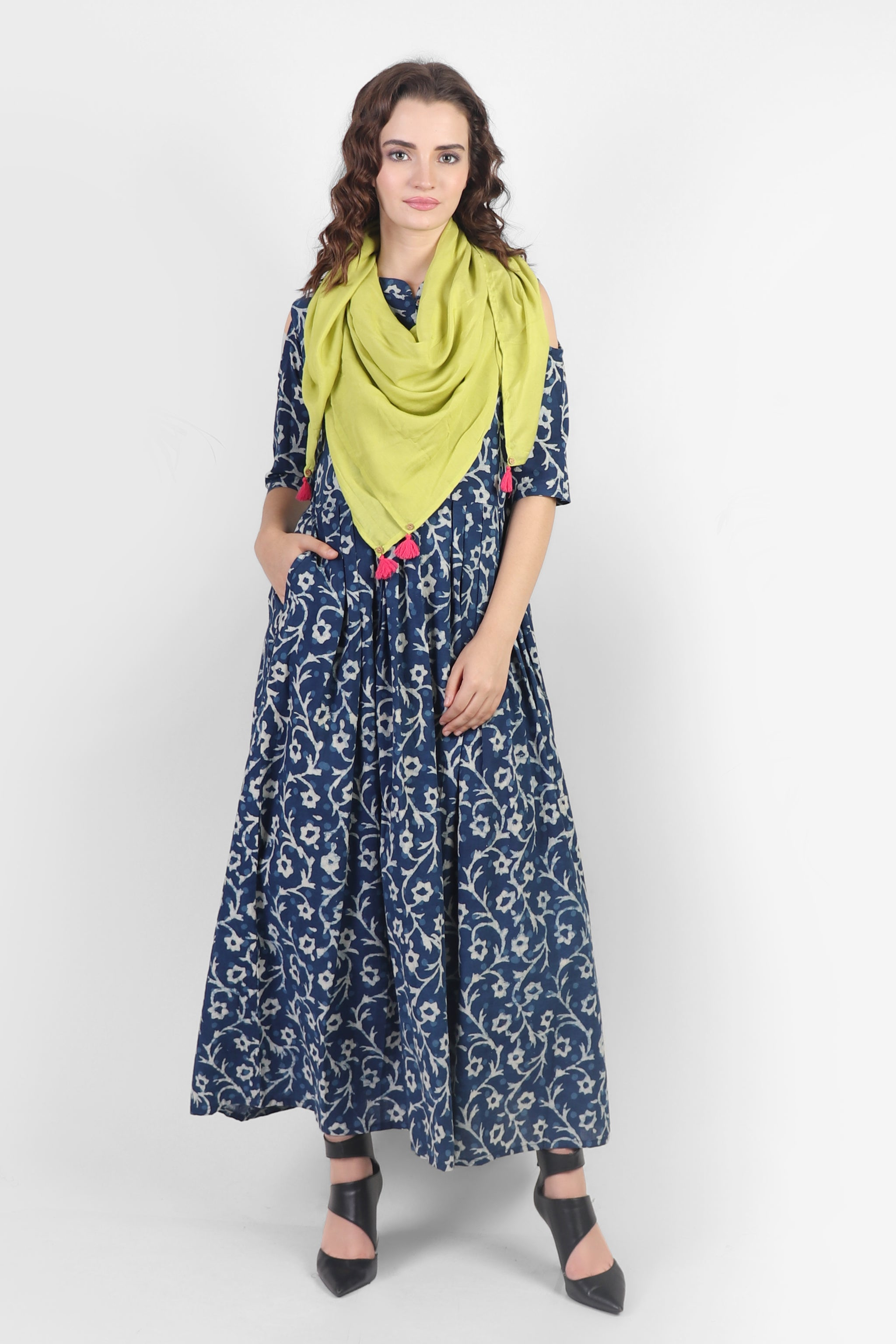 Floral Fiesta  Dress with pockets and scarf