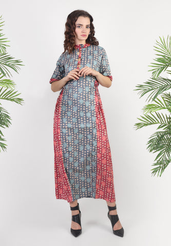 Pink-Blue Dotted Maxi Dress
