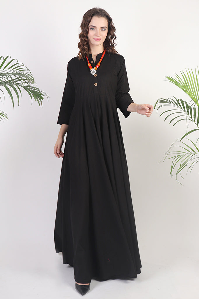 Long Flowy Black Anarkali Dress
