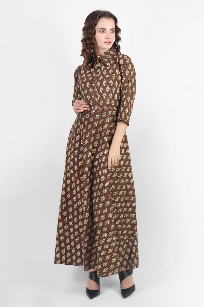 Fit – n- Flare Brown Cotton Dress