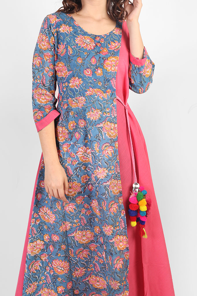 Pink n Blue Cotton Floral Dress