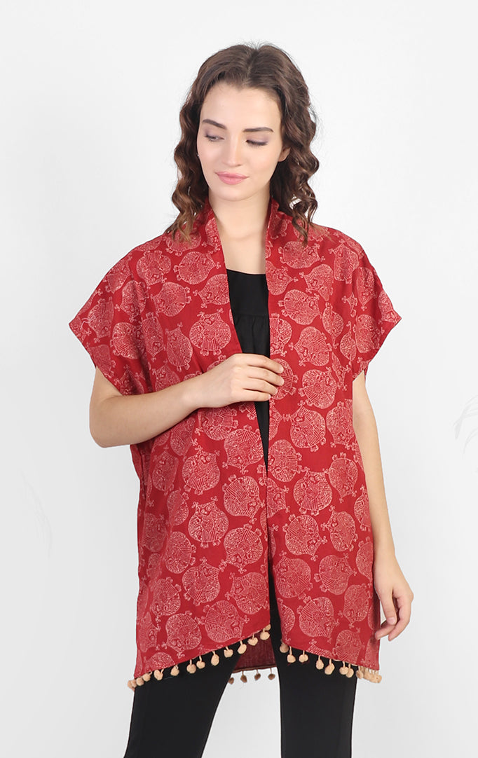 Bird Printed Red Shrug
