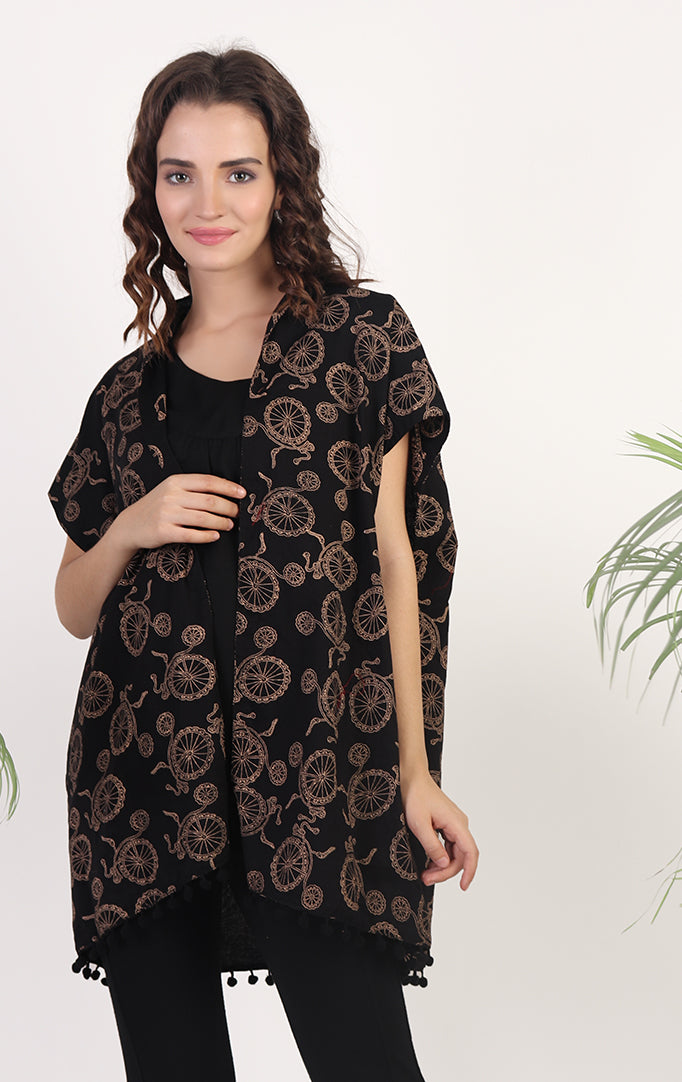 Black Cycle Printed Shrug