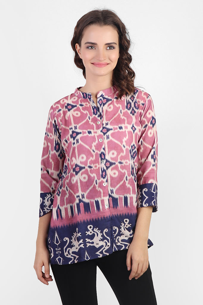 Alluring Linen top with Chinese collar