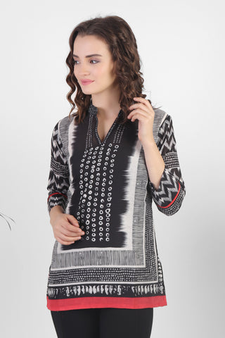 Stylish Black-White Cotton Kurti