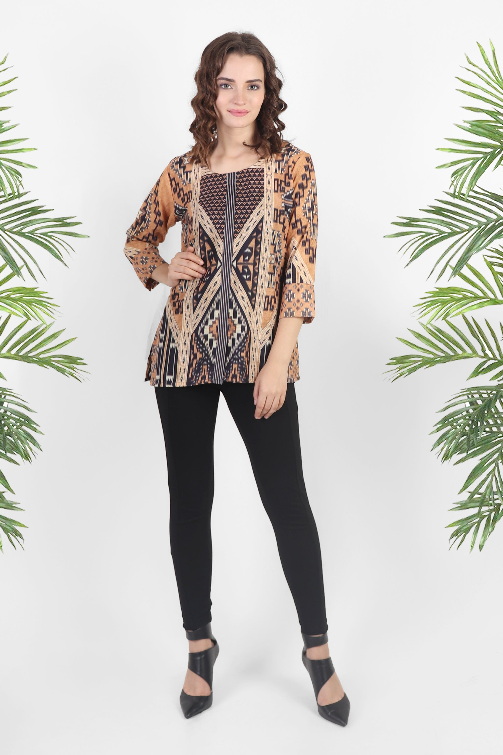Geometric Print Cotton Top