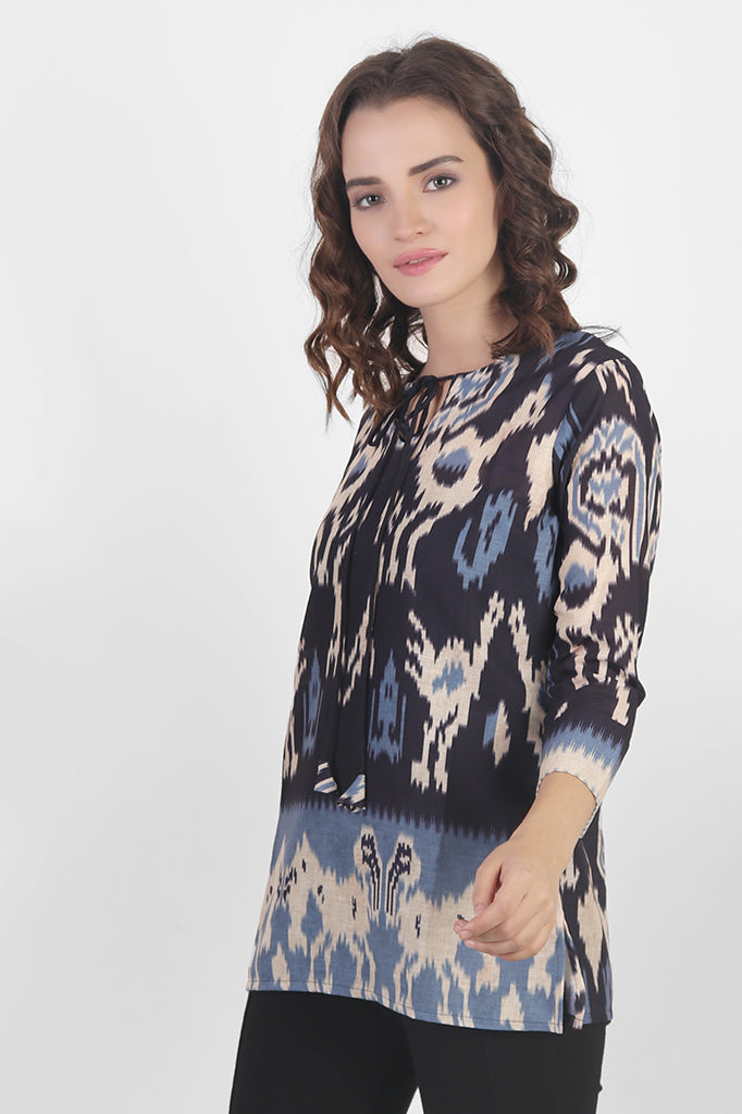 Ikat Printed Top in Blue and Black