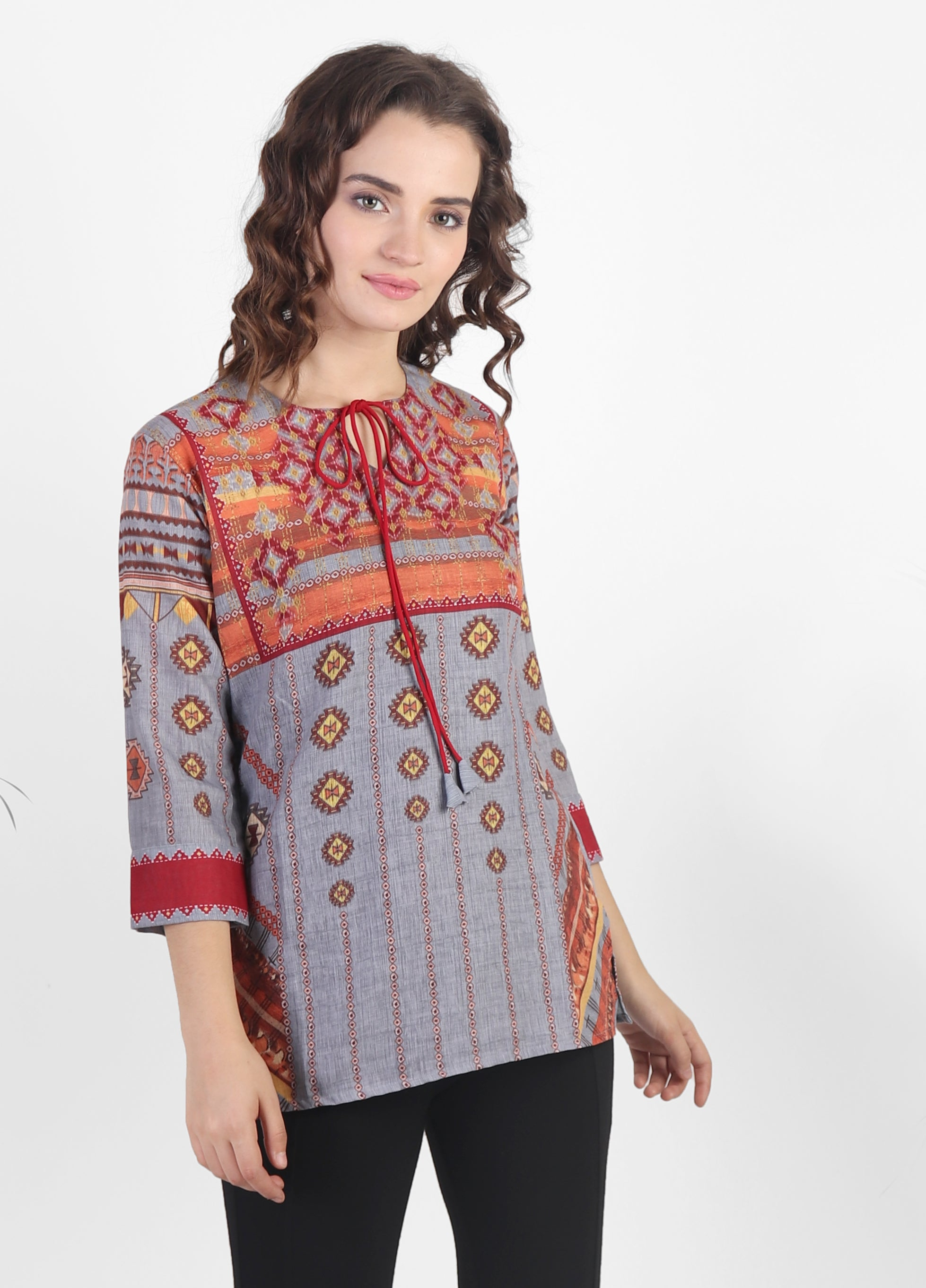 Grey-Red Printed Kurti