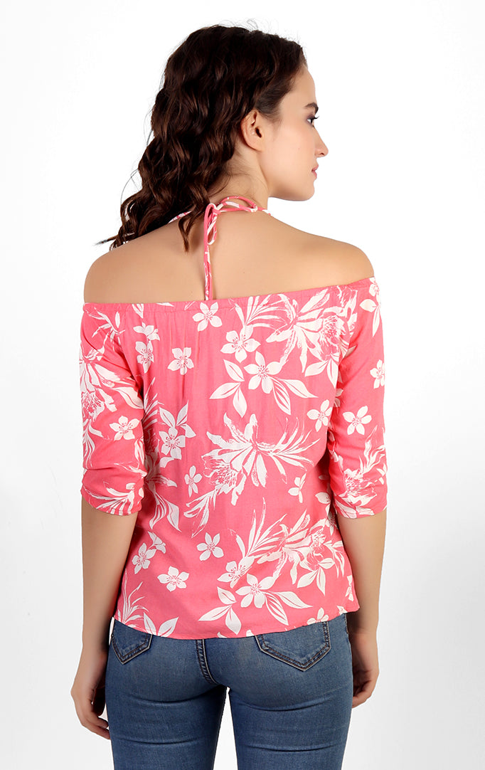 Tropical Printed Pink Off-Shoulder Top