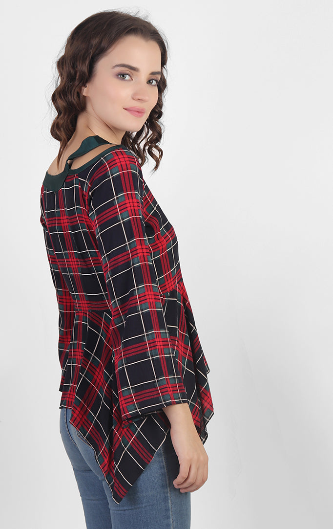 Red Checkered Peplum Top