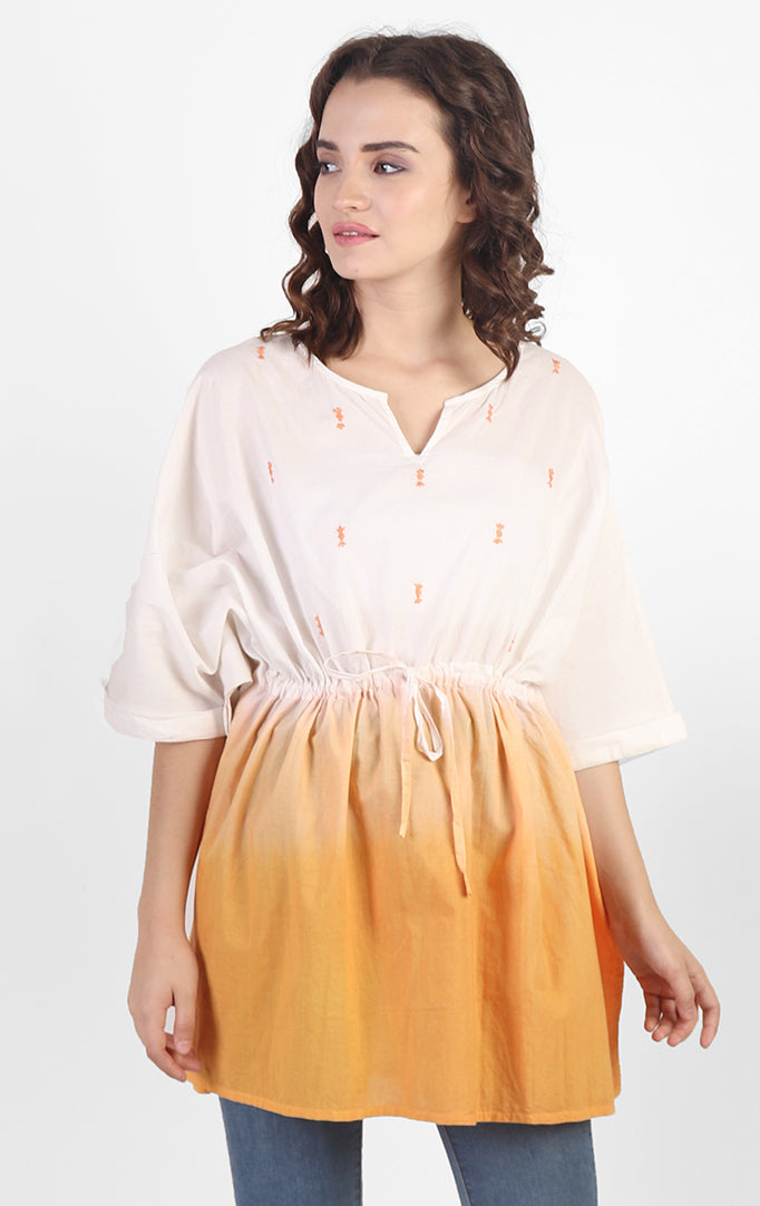 Ombre Yellow-White Kaftan Top