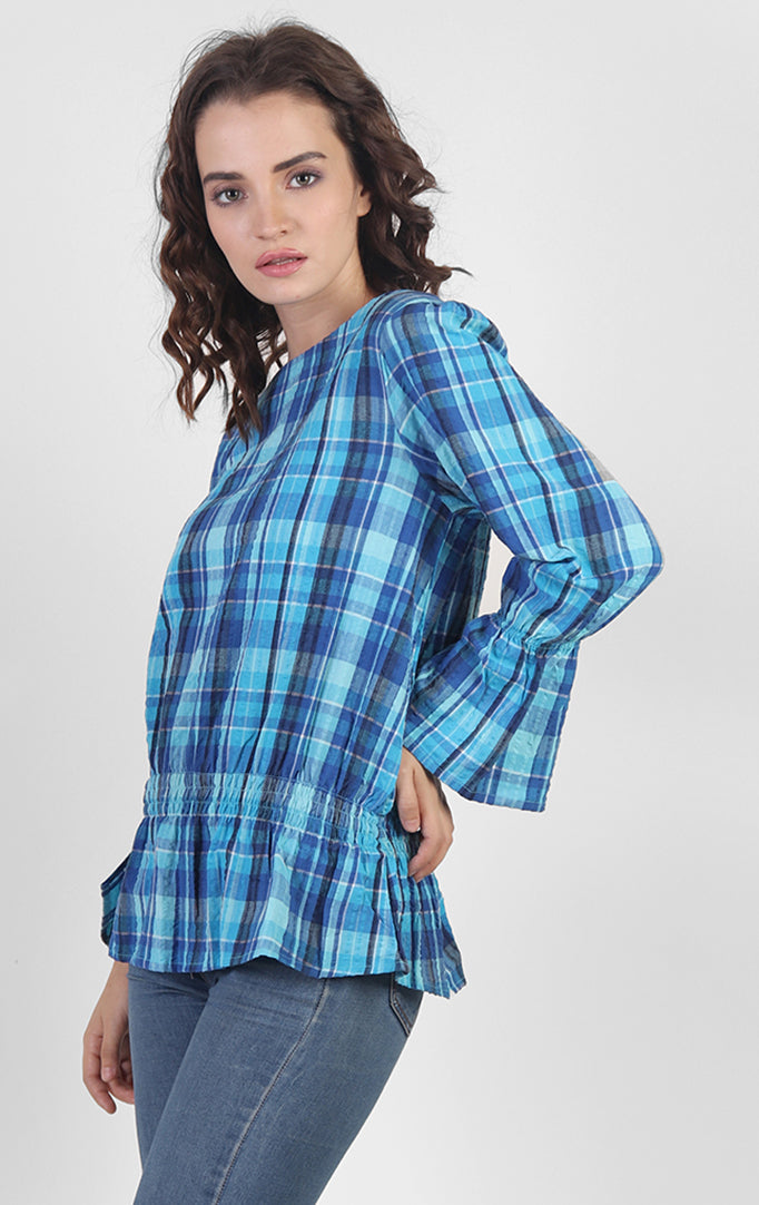 Blue Checkered Printed Top