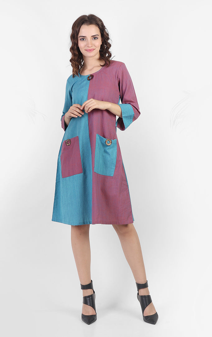 Half-n-half Pink-Blue Shift Dress