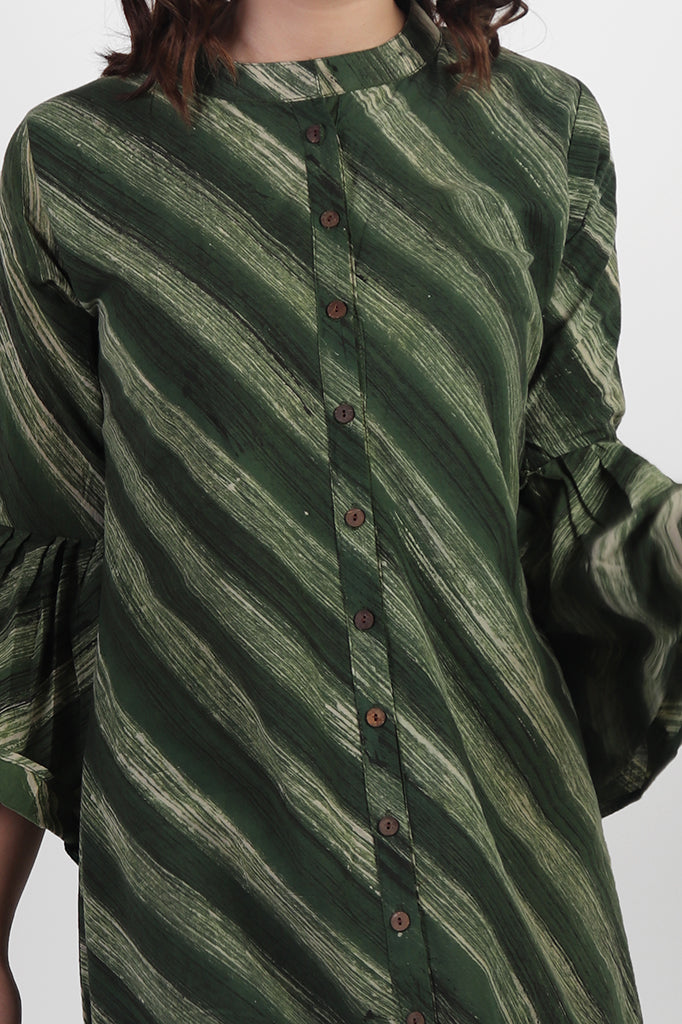 Green Striped Kurta with Bell Sleeves