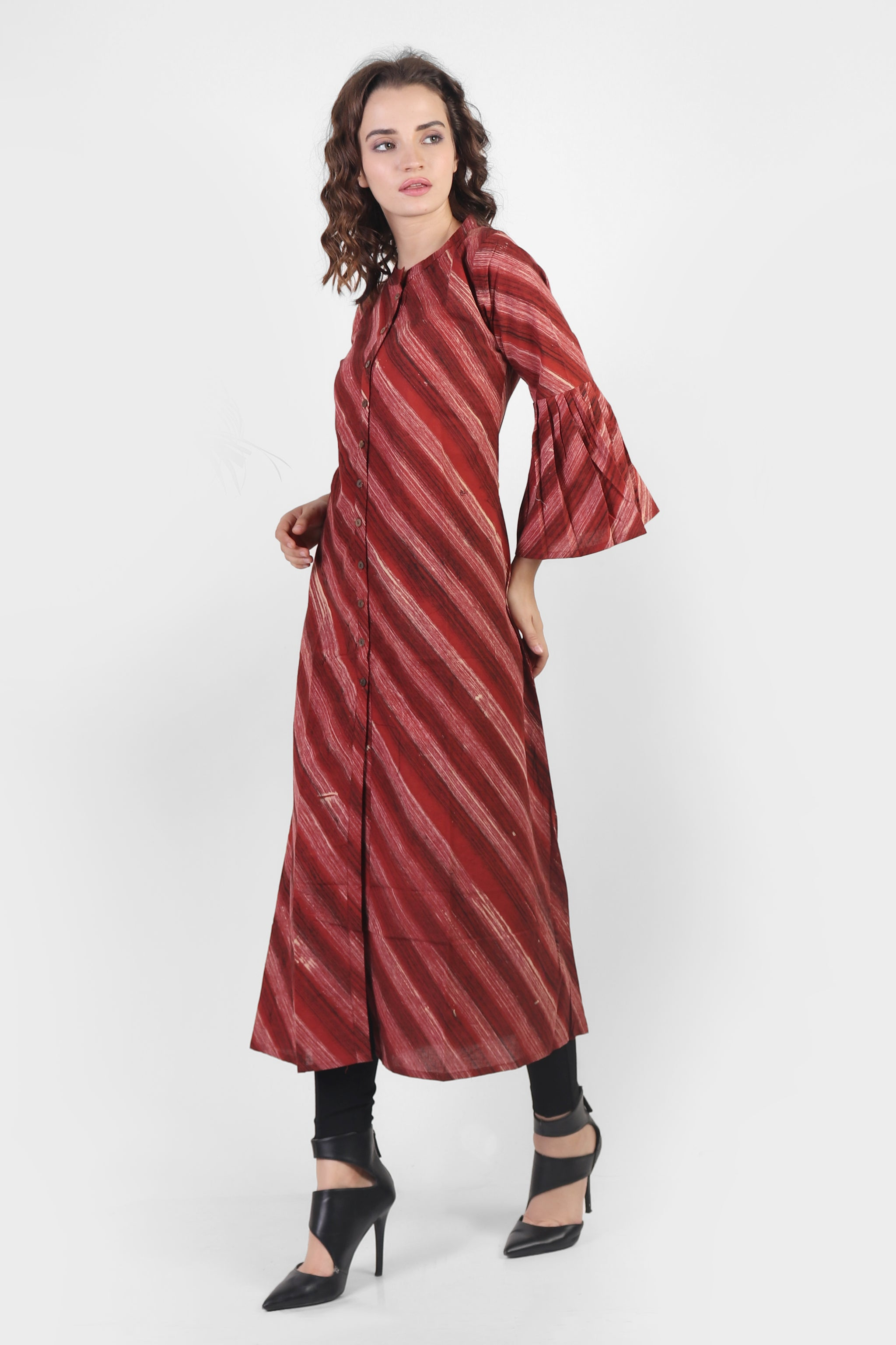 Maroon Striped Kurta with Bell Sleeves