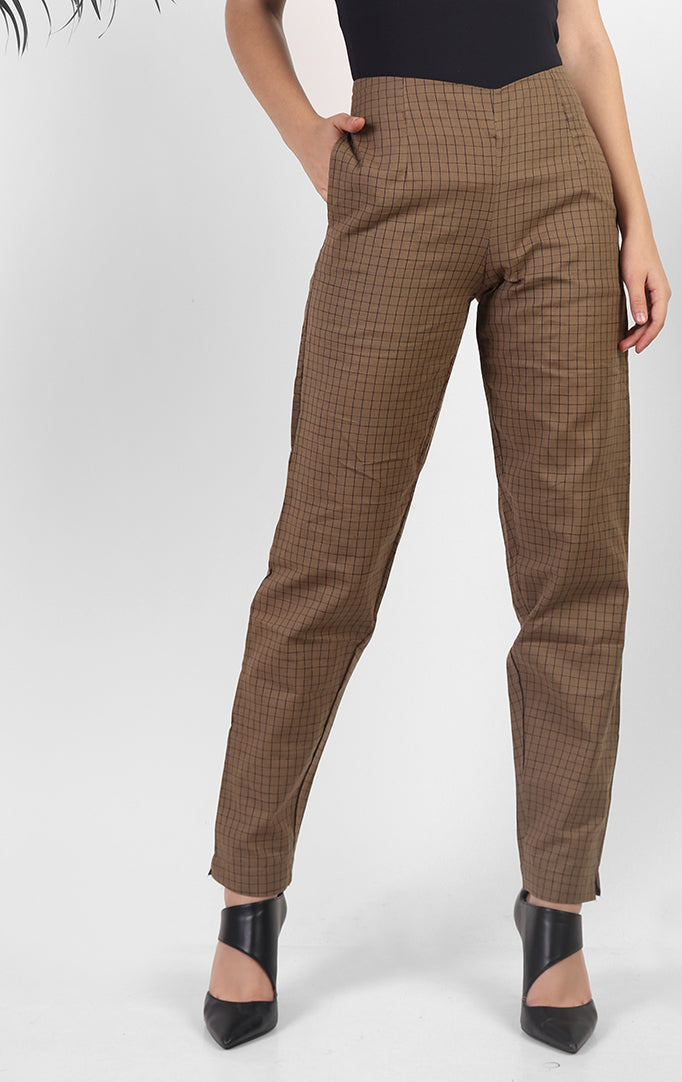 Brown Cotton Pants with Pockets