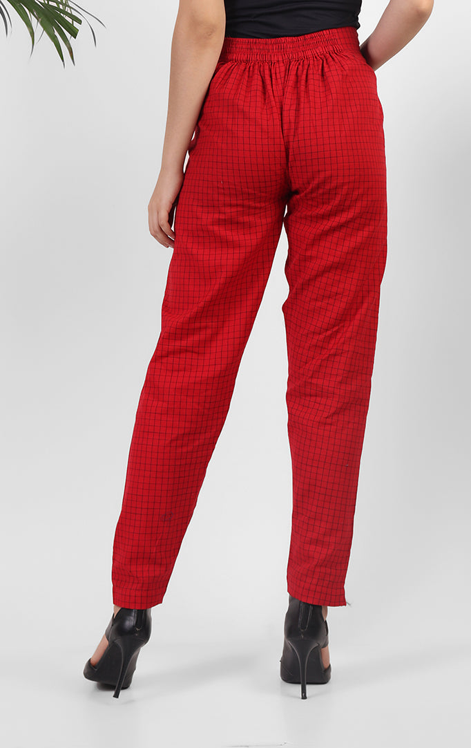 Bright Red Checkered Pants