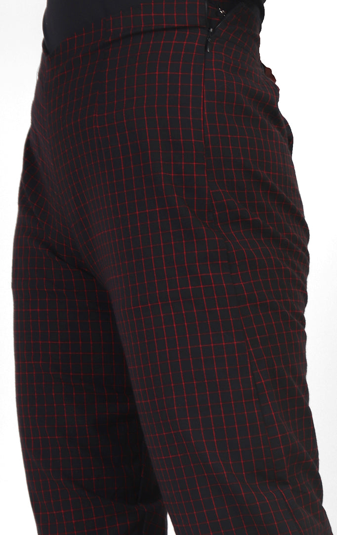 One-And-Done Black Checkered Cotton Pants